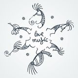Hand drawn Kokopelli circle. Stylized mythical characters playing flutes. Love music. Hand drawn Kokopelli circle. Stylized mythical characters playing flutes stock illustration