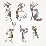 Hand drawn Kokopelli figures. Stylized mythical characters playing flutes. Vector art for prints. design, cards, children and coloring books, t-shirts royalty free illustration