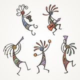Hand drawn Kokopelli figures. Stylized mythical characters playing flutes. Vector art for prints. design, cards, children and coloring books, t-shirts stock illustration