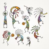 Hand drawn Kokopelli figures. Stylized mythical characters playing flutes. Vector art for prints. design, cards, children and coloring books, t-shirts vector illustration