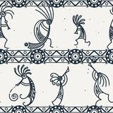 Hand drawn Kokopelli seamless pattern. Stylized mythical characters playing flutes. Vector art for prints. design, cards, children and coloring books, t-shirts vector illustration