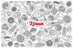 Hand drawn Korean food set with lettering Stock Image