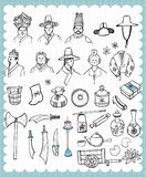 Hand drawn Korean tradition set B. Vintage traditional illustration with Korean  folk craft articles in hand drawn style Stock Image