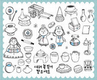 Hand drawn Korean tradition set A Royalty Free Stock Photography