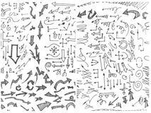 Hand-drawn krabbel naadloos patroon met pijlen eps10 Royalty-vrije Stock Afbeelding