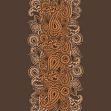 Hand-Drawn Krabbel van Henna Mehndi Abstract Mandala Flowers en van Paisley Stock Foto's