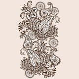 Hand-Drawn Krabbel van Henna Mehndi Abstract Mandala Flowers en van Paisley stock illustratie
