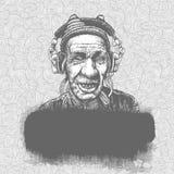 Hand-drawn krabbelachtergrond met bejaarde met Stock Foto