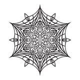 Hand-drawn krabbelssneeuwvlok De stijl van Zentanglemandala Royalty-vrije Stock Fotografie
