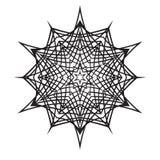 Hand-drawn krabbelssneeuwvlok De stijl van Zentanglemandala Stock Foto