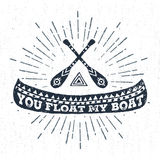 Hand drawn label with canoe vector illustration and lettering. Hand drawn tribal label with textured canoe vector illustration and You float my boat Royalty Free Stock Photography
