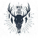 Hand drawn label with deer skull vector illustration and lettering. Royalty Free Stock Photo