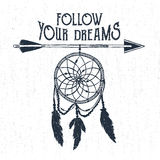 Hand drawn label with dream catcher vector illustration and lettering. Royalty Free Stock Photos