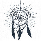 Hand drawn label with dream catcher vector illustration and lettering. Royalty Free Stock Image