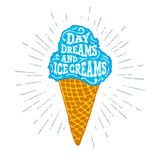 Hand drawn label with ice cream vector illustration. Royalty Free Stock Images