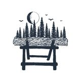 Hand drawn label with log and forest textured vector illustrations Stock Photo