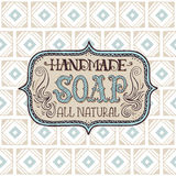 Hand drawn label and pattern for handmade soap bar Royalty Free Stock Images