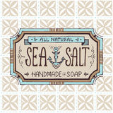 Hand drawn label and pattern for handmade soap bar Stock Image