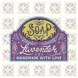 Hand drawn label and pattern for handmade soap bar Stock Photo