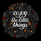 Hand drawn label with phrase Enjoy the little things Stock Photos