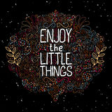 Hand drawn label with phrase Enjoy the little things Stock Photo