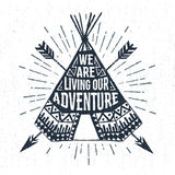 Hand drawn label with teepee vector illustration and lettering. Royalty Free Stock Photos
