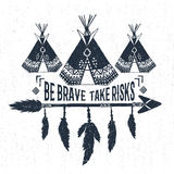Hand drawn label with teepees vector illustration and lettering. Stock Photography
