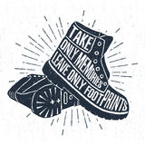 Hand drawn label with textured boots vector illustration and lettering. Royalty Free Stock Images