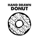 Hand drawn label with textured donut vector illustration. Hand drawn label with textured donut vector illustration and `Hand drawn donut` lettering Royalty Free Illustration