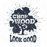 Hand drawn label with textured oak tree vector illustration. Royalty Free Stock Images