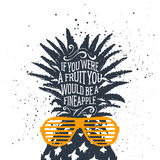 Hand drawn label with textured pineapple vector illustration. Royalty Free Stock Photos