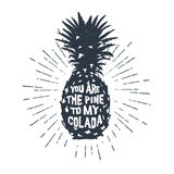 Hand drawn label with textured pineapple vector illustration. Royalty Free Stock Photography