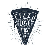 Hand drawn label with textured pizza slice vector illustration Royalty Free Stock Images