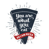 Hand drawn label with textured pizza slice vector illustration Stock Photo