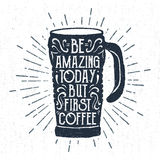 Hand drawn label with textured thermo cup vector illustration and lettering. royalty free illustration