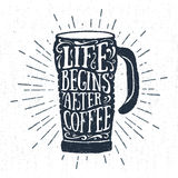 Hand drawn label with textured thermo cup vector illustration. Hand drawn label with textured thermos cup vector illustration and `Life begins after coffee` Royalty Free Stock Image