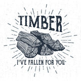 Hand drawn label with textured wood pile vector illustration. Royalty Free Stock Photos
