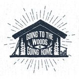 Hand Drawn Label With Textured Wooden Cabin Vector Illustration. Stock Photo