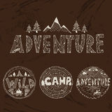 Hand drawn labels for adventure themes Royalty Free Stock Images