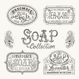Hand drawn labels and patterns for handmade soap bars. Stock Images