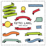 Hand drawn labels and ribbons Stock Photo