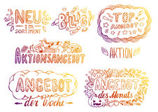 Hand-drawn labels. Set of hand-drawn colorful labels in German Royalty Free Stock Images