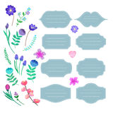 Hand-drawn Labels set with flowers. Vector signs and symbols tem Royalty Free Stock Photo