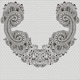 Hand-drawn lace detachable collar-necklace. Embroidery, handmade. Decor for wedding dress vector illustration