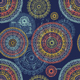 Hand drawn  lace ethnic seamless pattern in blue tones Stock Photography