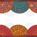 Hand drawn  lace mandalas  ethnic  seamless border Royalty Free Stock Images
