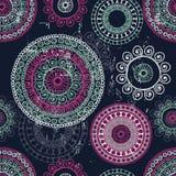 Hand drawn  lace mandalas  ethnic  seamless pattern Royalty Free Stock Photo