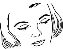 Hand Drawn Ladys Face /eps Stock Images