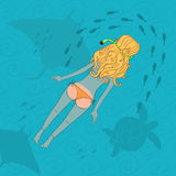 Hand drawn lady snorkeling. With manta ray Royalty Free Stock Photo