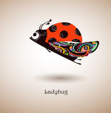 Hand drawn ladybug, color. Fantastic ladybug patterned wings,bright colors,  illustration Stock Images